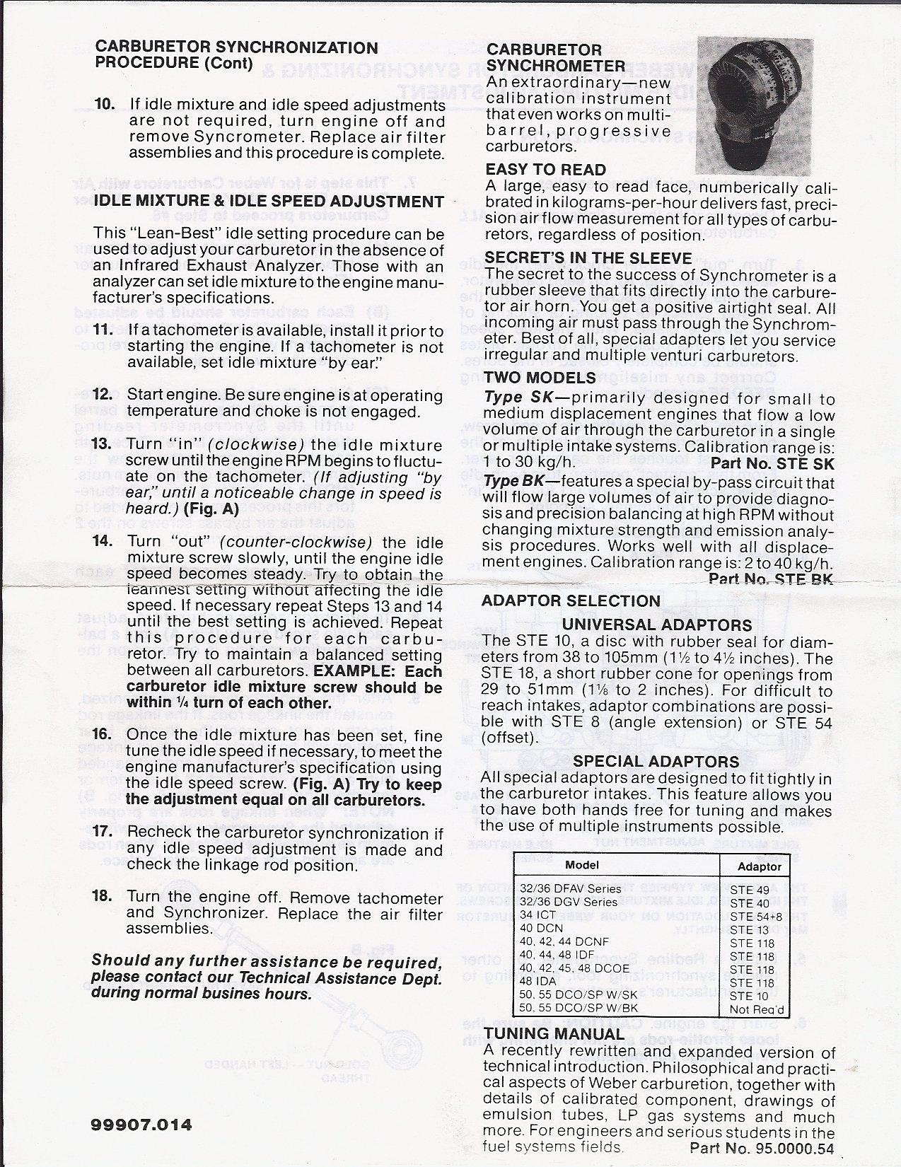 thesamba com weber dual ict carburetors installation manual rh thesamba com Weber Carburetor Downdraft Weber Carburetor Logo