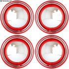 New Hot Rod Red Wheel Pkg. Hubcaps + Trim Rings