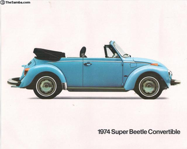 1974 VOLKSWAGEN SUPER BEETLE 2 Page US Brochure