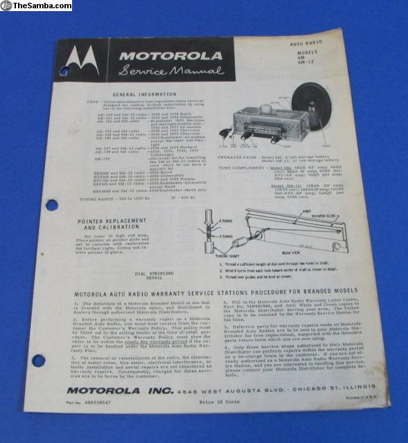 TheSamba com :: VW Classifieds - Rare 1950's Big M Motorola Radio