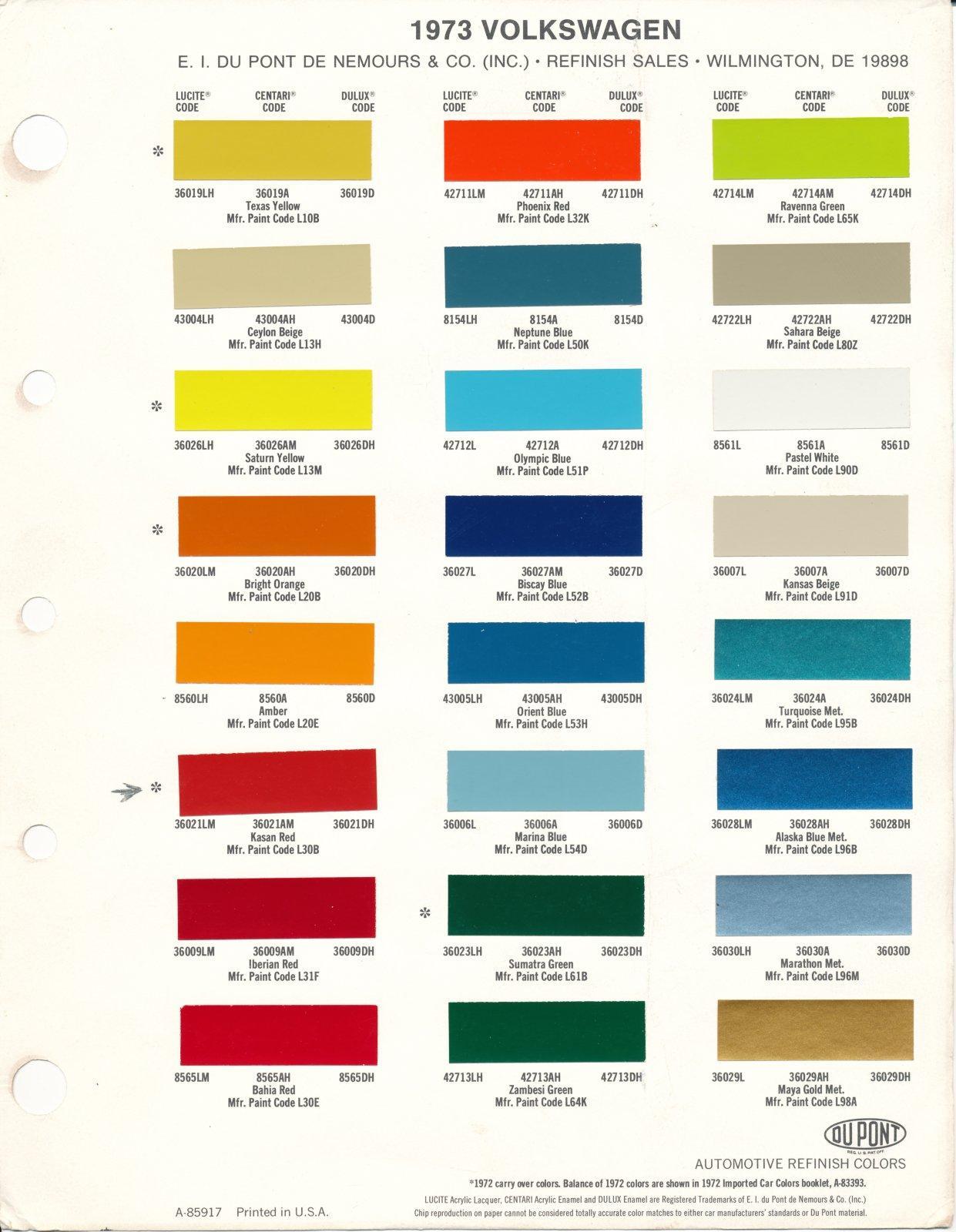 1973 vw colors dupont color sheet