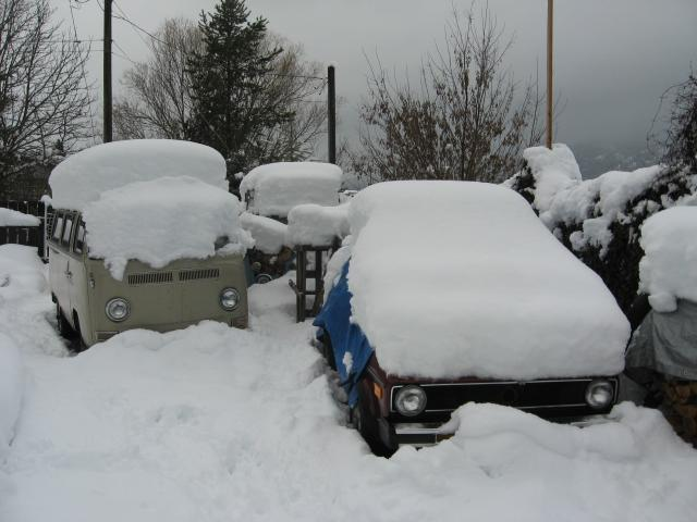 Recent snowfall on hte VW graveyard behind my house