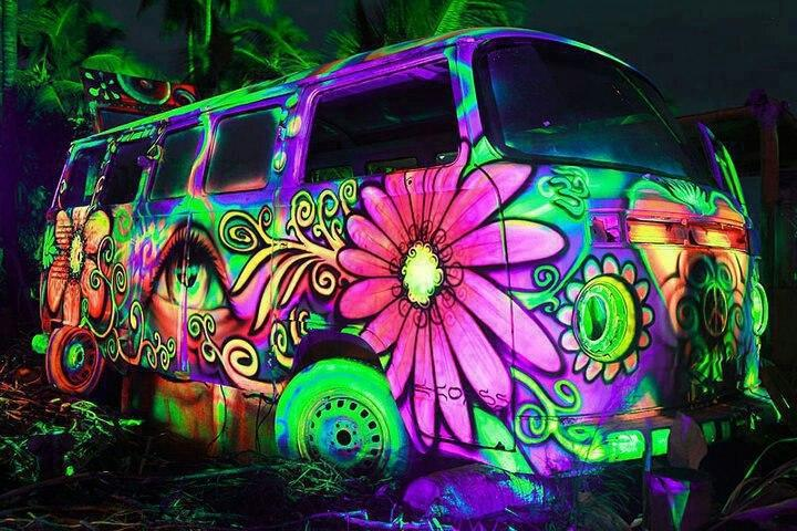 Blacklight Brazil Hippie Bus