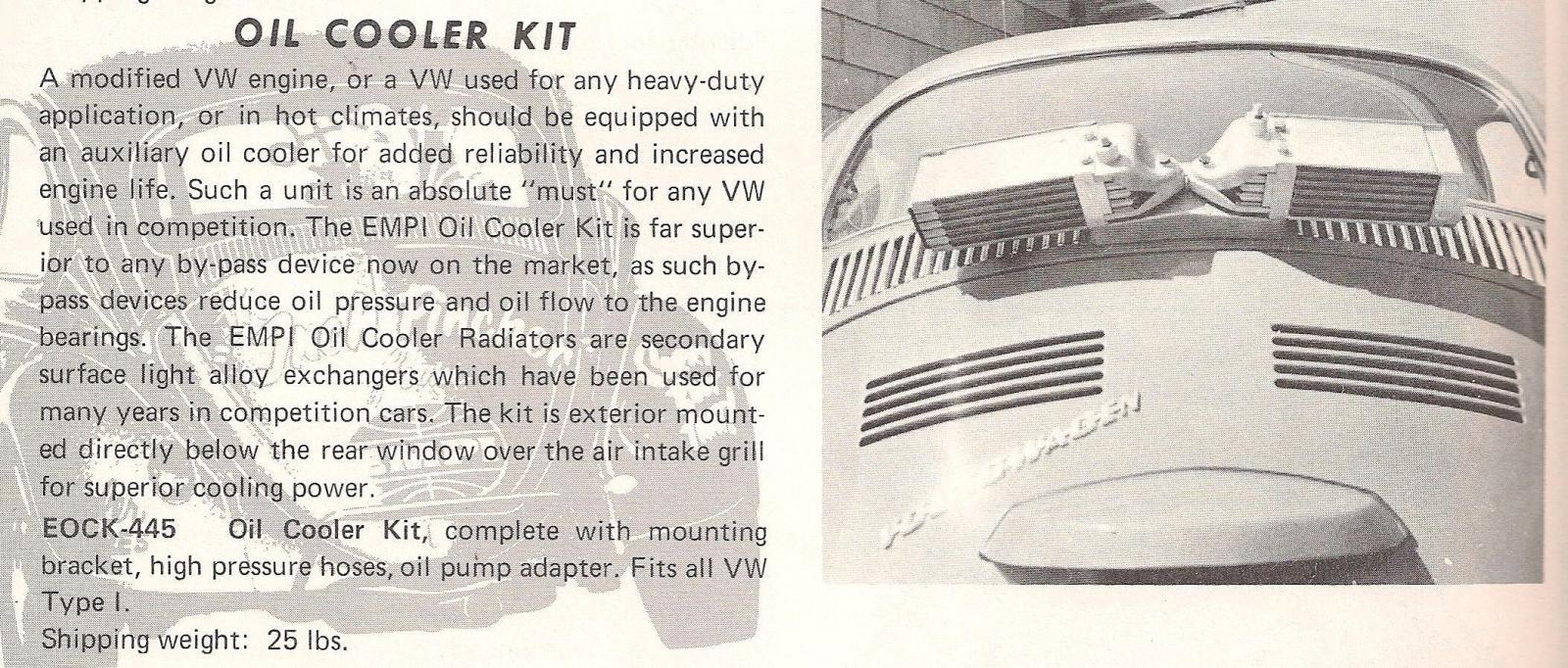 Empi Batwing Oil Cooler catalog ads