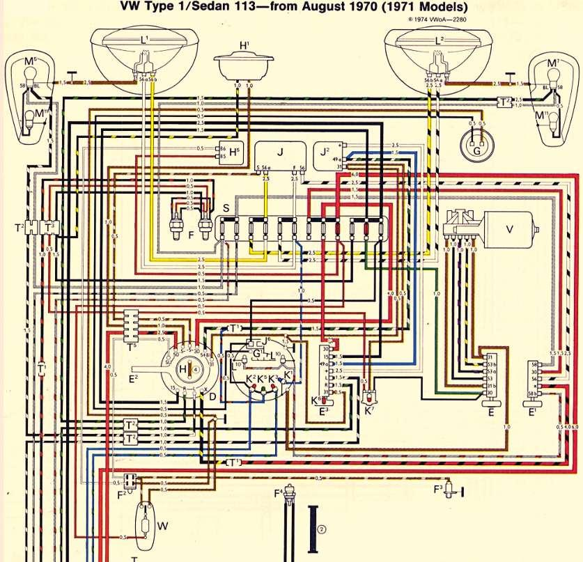 67 vw bug wiring diagram thesamba com beetle late model super 1968 up view 1971 vw bug wiring diagram #4