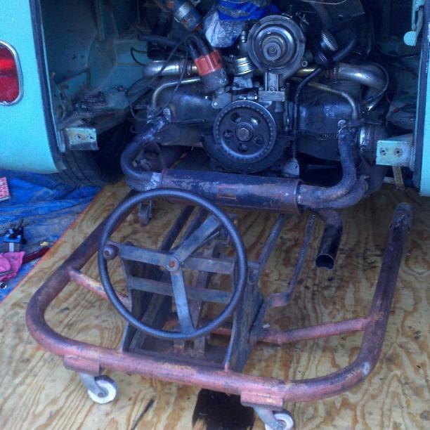 Engine install with VW engine hoist