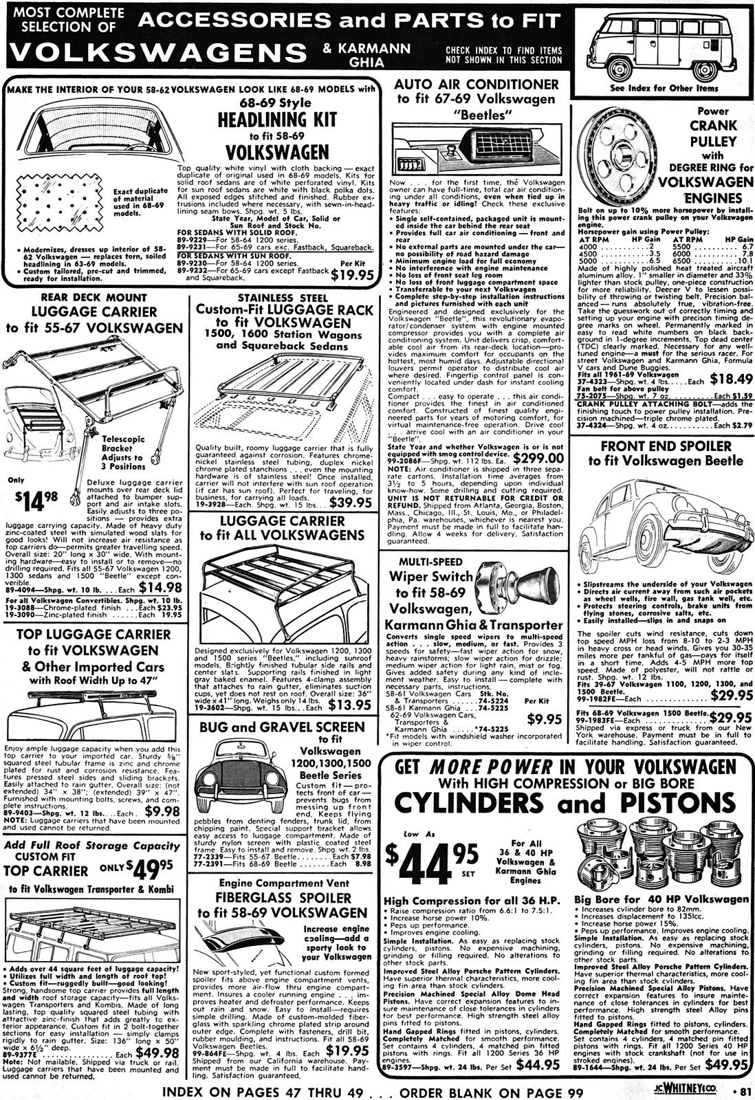 1969 J.C. Whitney Catalog - VW sections pages 2, 81-89