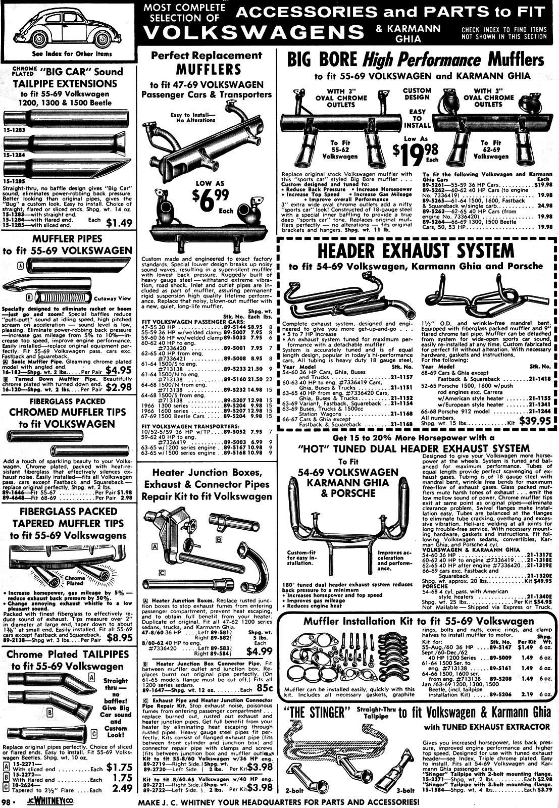1969 J.C. Whitney Catalog - VW sections pages 90-98