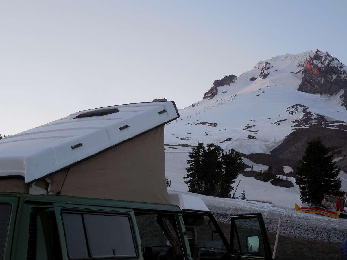 Base camp for a Mt. Hood climb