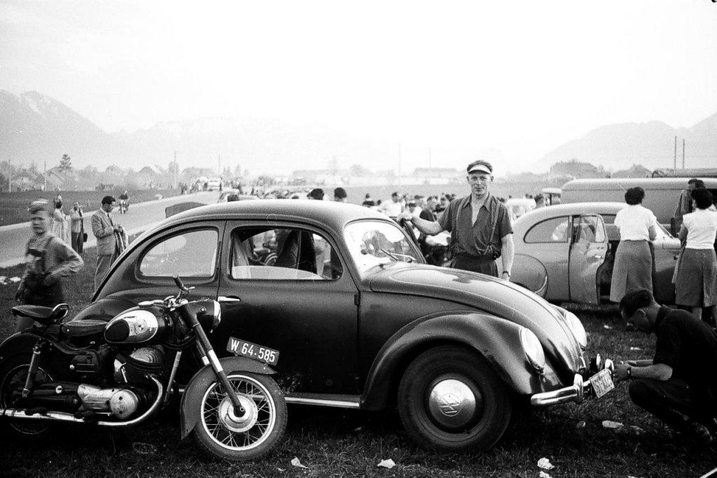 at the car park during a road race in salzburg / austria 1955