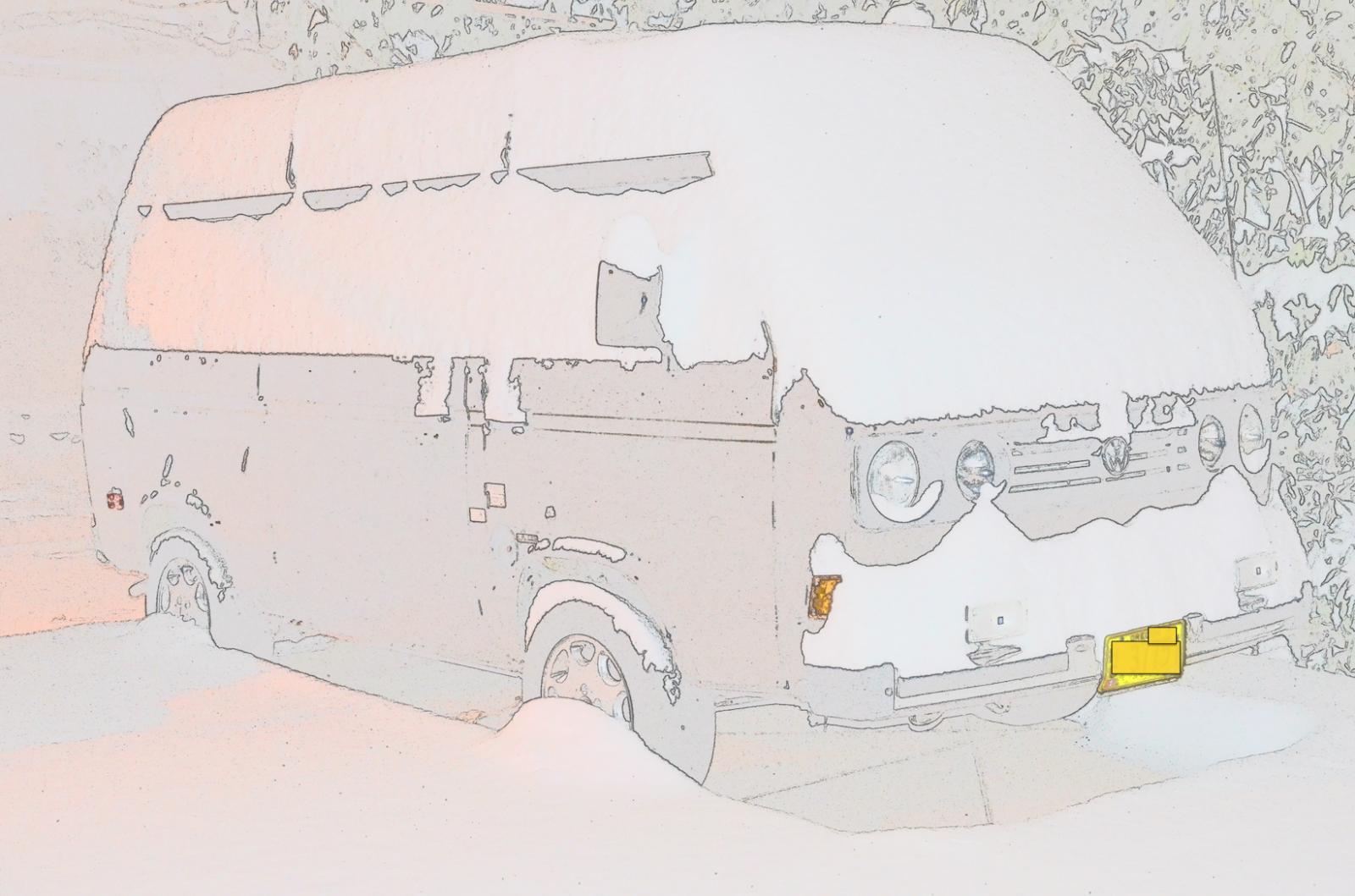 color sketch front of Vanagon in snow