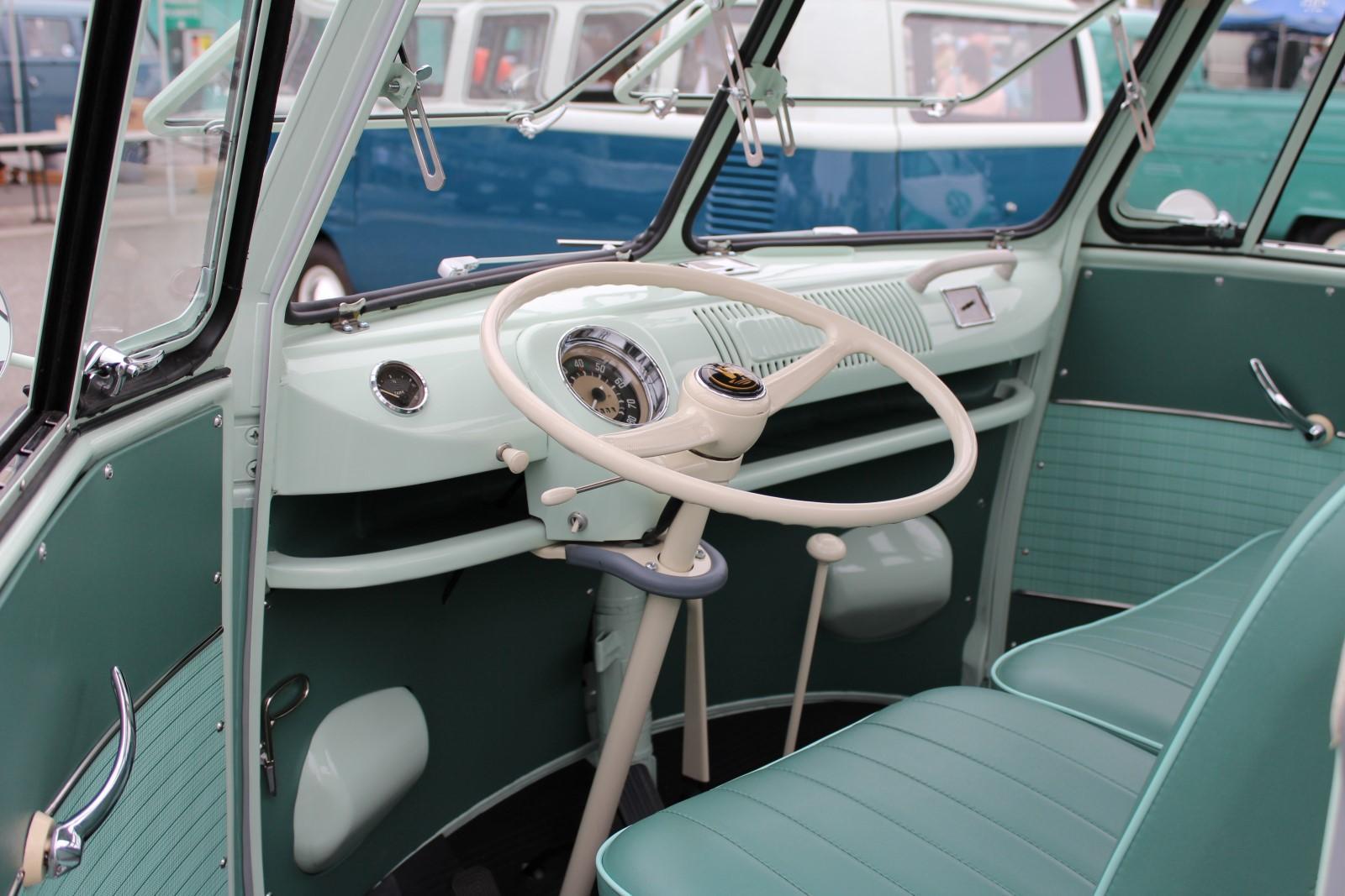 Restored Turquoise 23-Window Deluxe Microbus