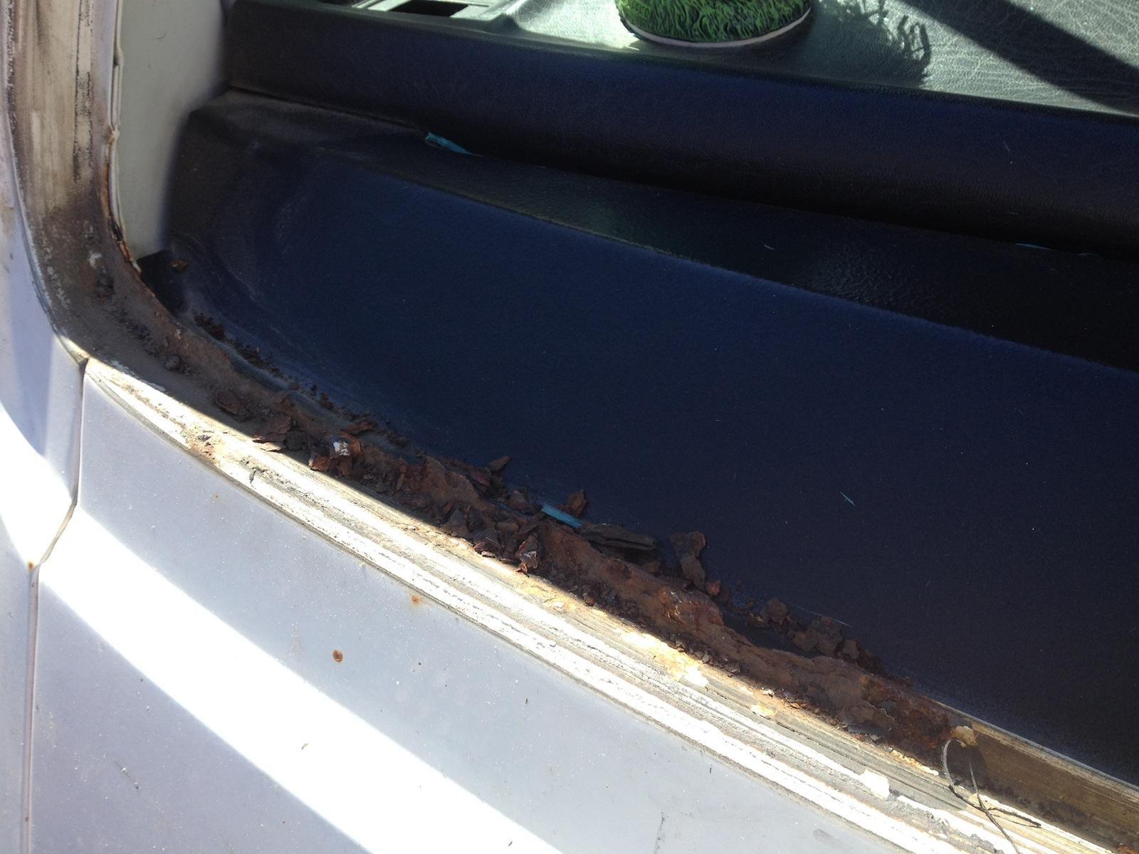 rusted out windshield gutter