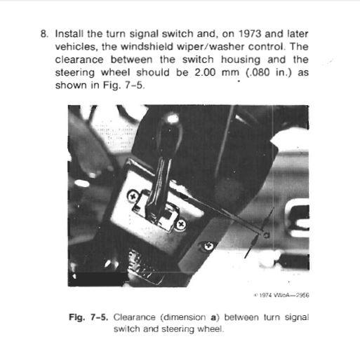 Turn signal switch to steering wheel clearance