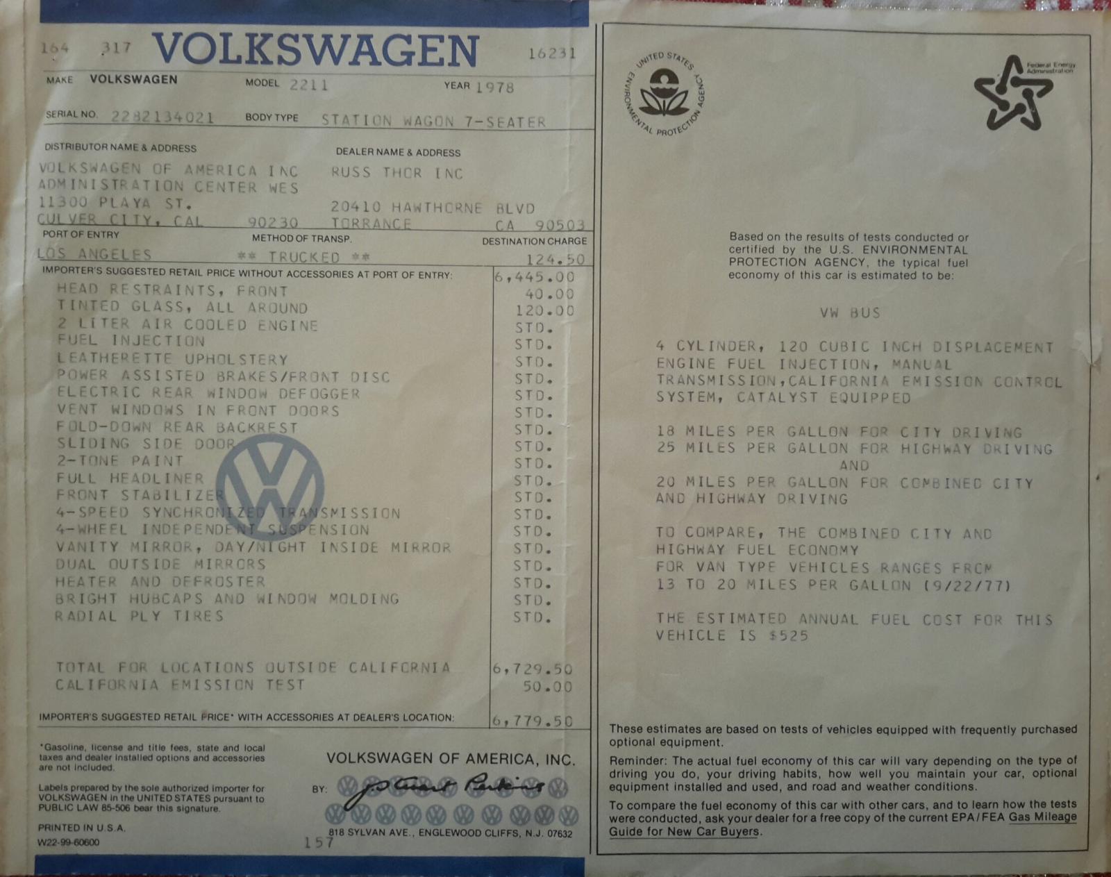 1978 vw bus window sticker