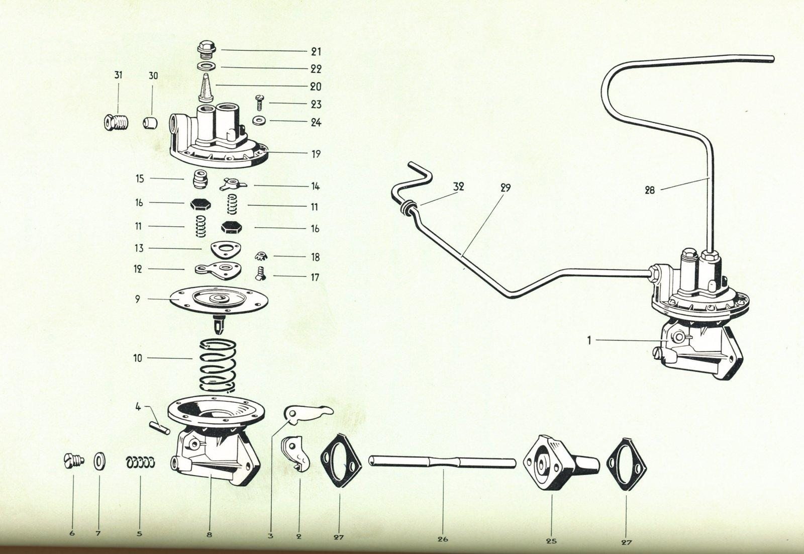 Late 36hp fuel pump diagram from VW Bus parts book