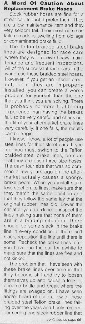 SS brake hose warning