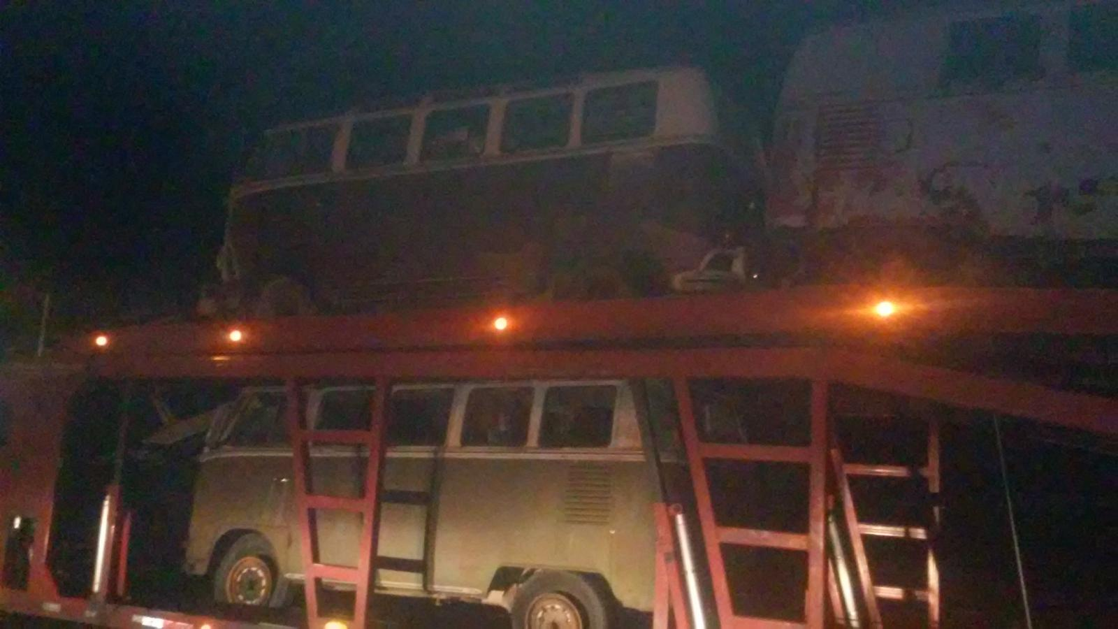 Truck loads of vw busses leaving