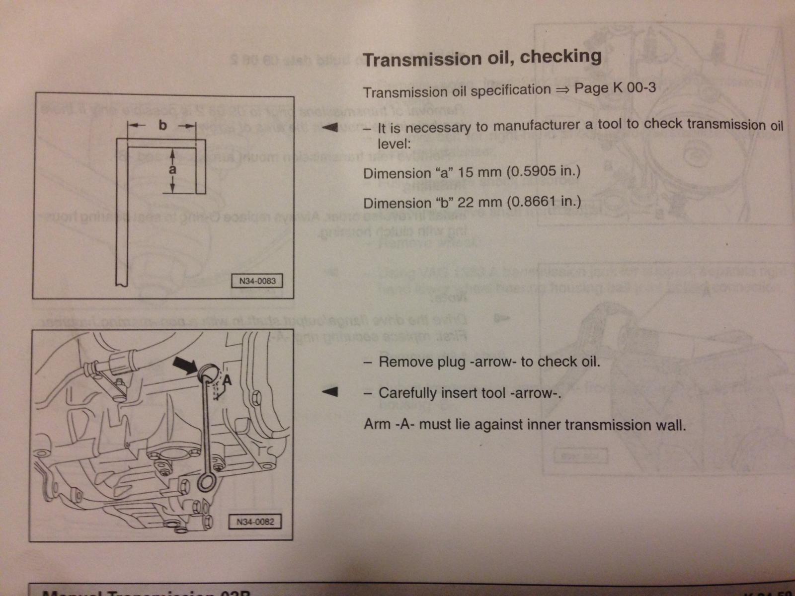 02b transmission fluid level
