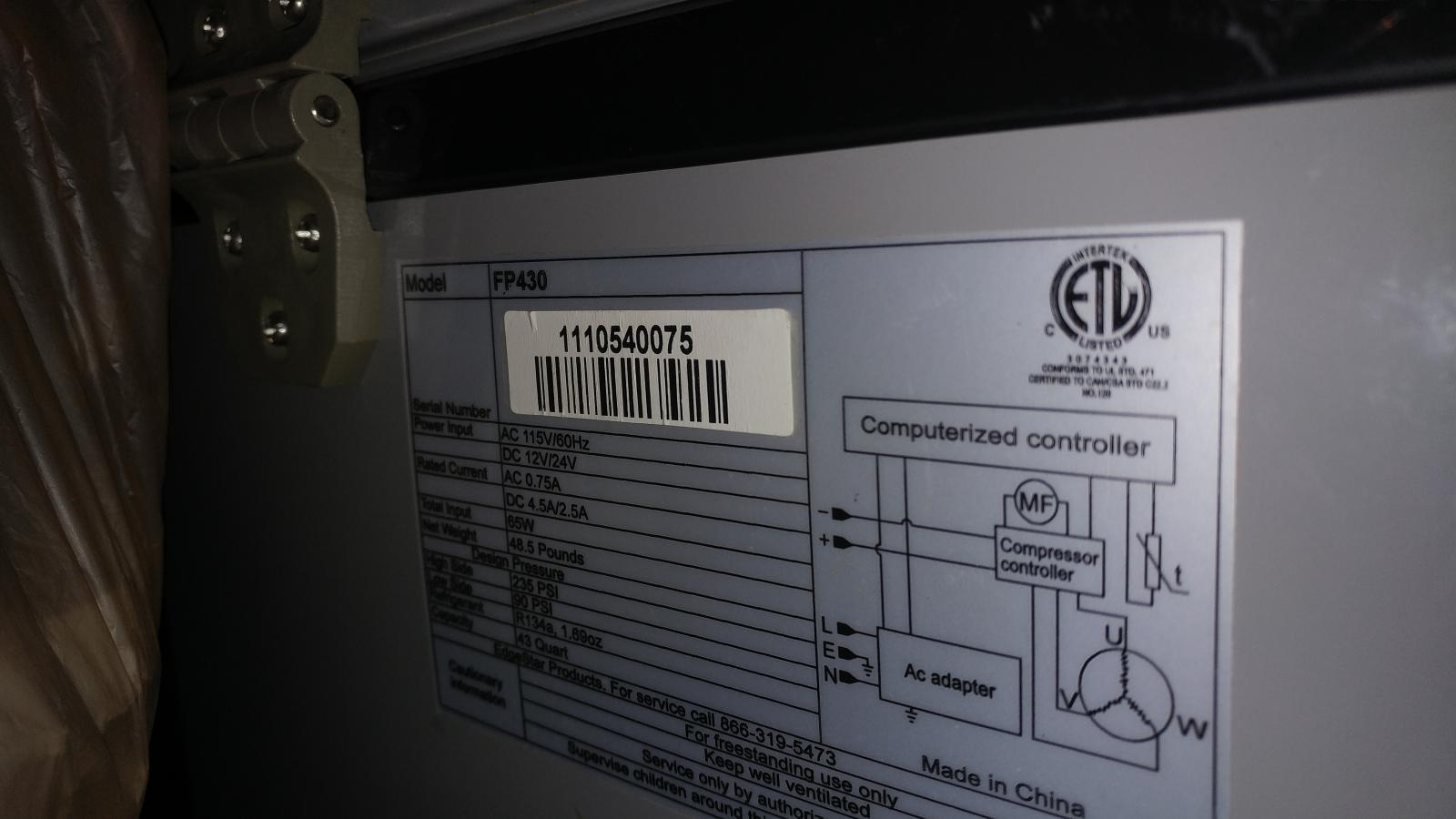 edgestar fp430 decal