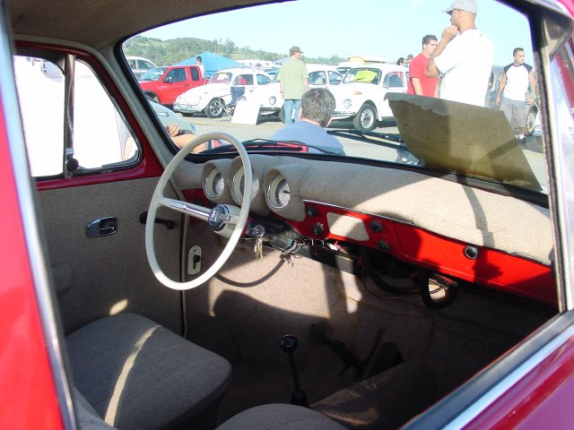Interior of '69 Squareback - red with white roof