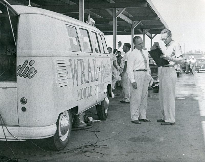 WRAL FM Mobile Studio 1957 1958 Pearl White L87 Pressed Bumper Kombi Logos Hand Lettering Raleigh NC CBC Capitol Broadcasting Company