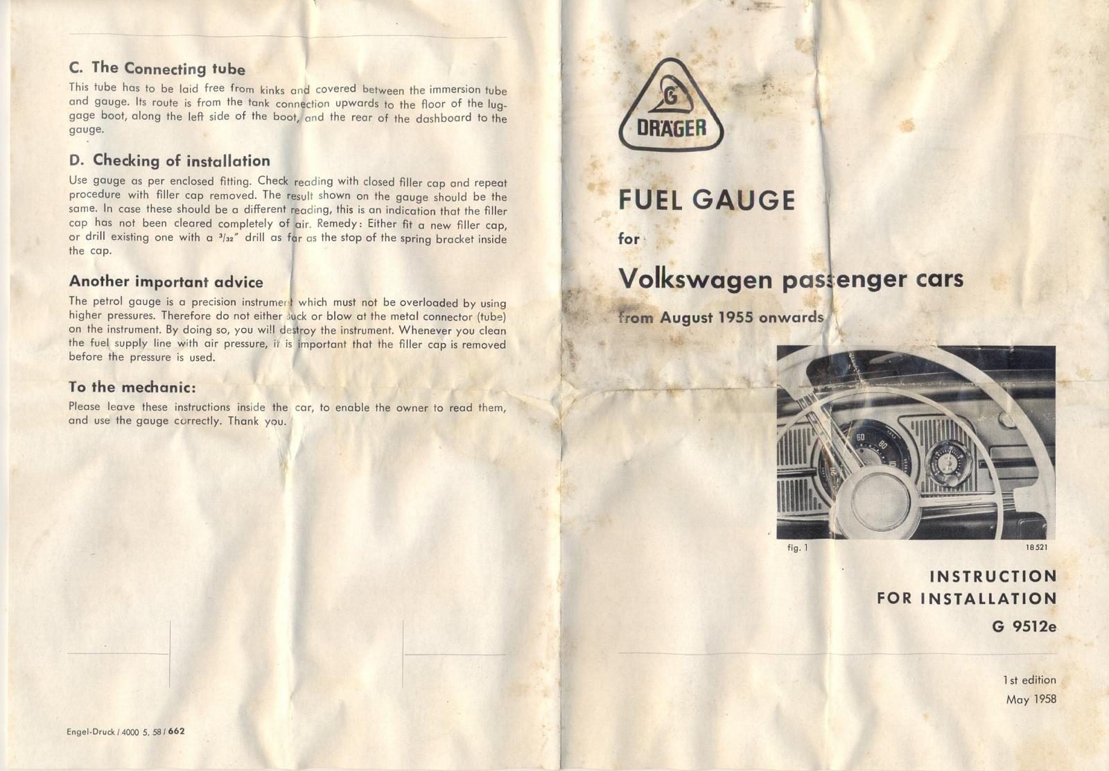 VW drager fuel gauge