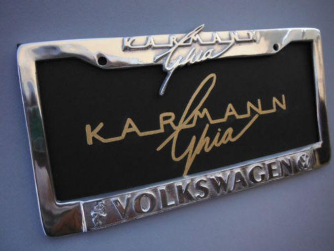 zinc alloy license plate frame with raised letters Karmann Ghia