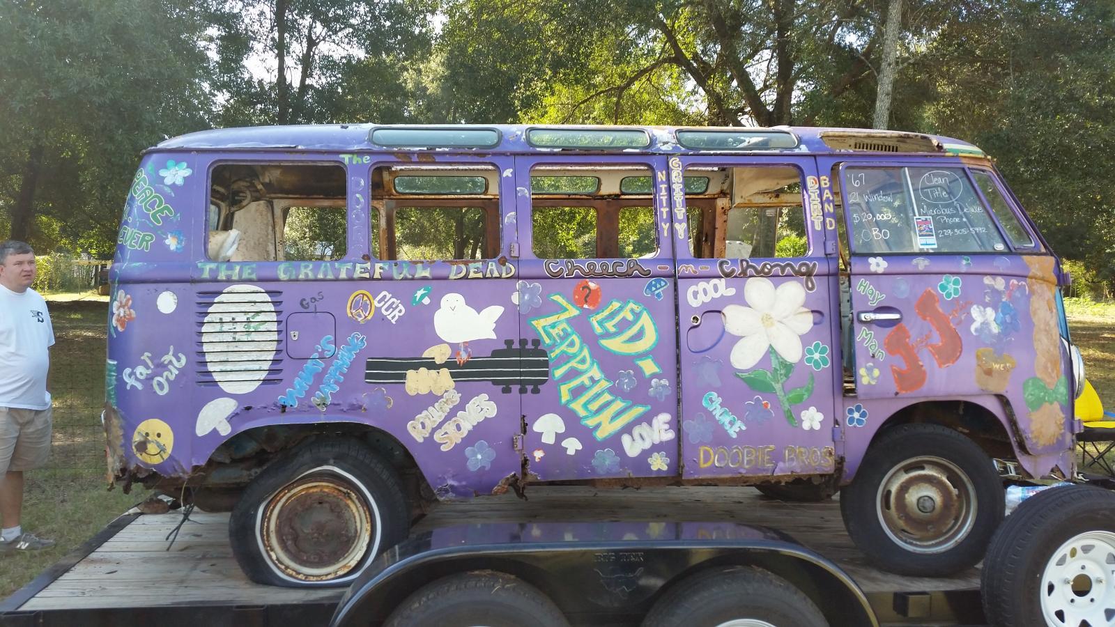 deluxe bus, hippy paint