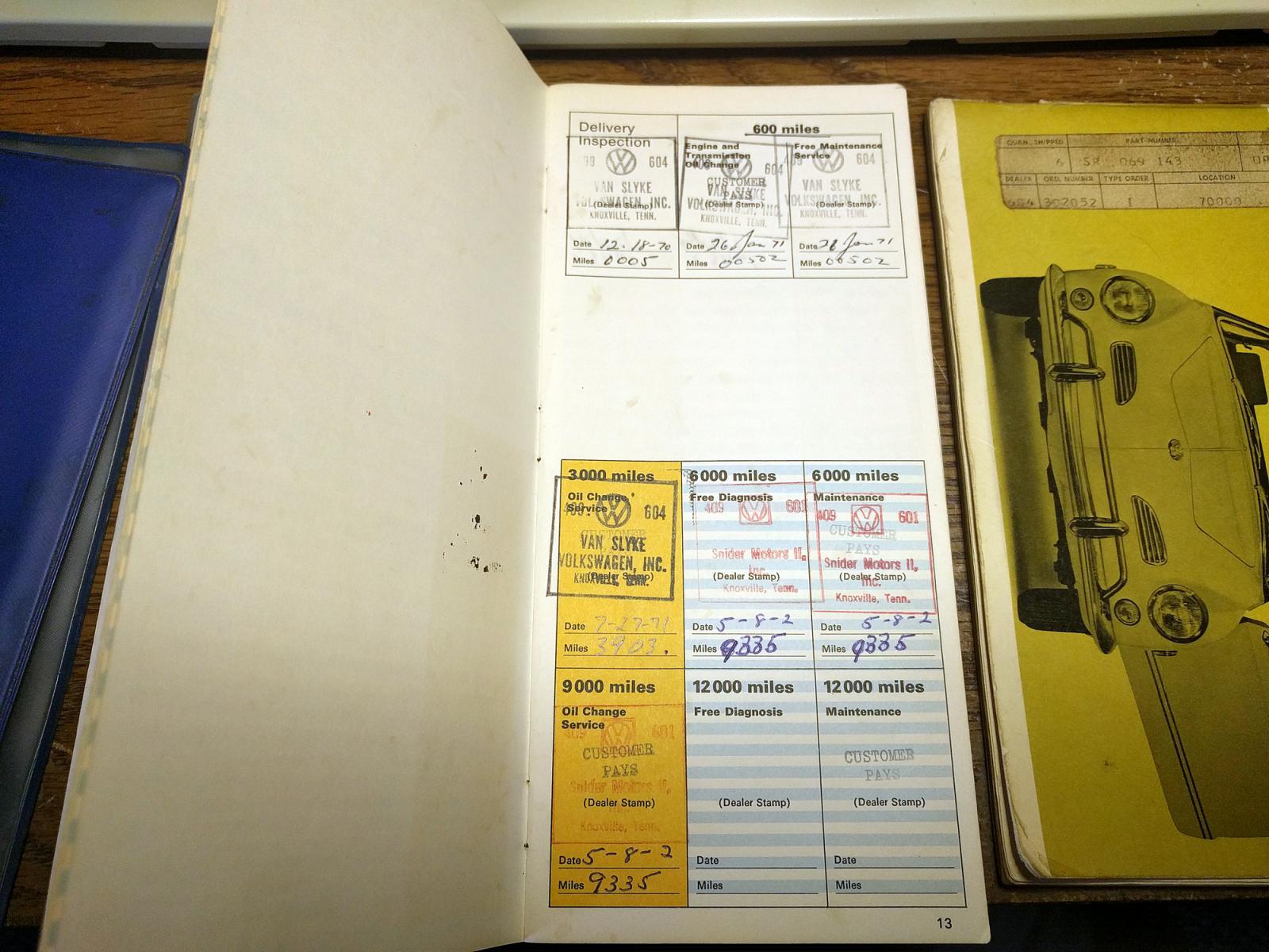 1970 Karmann Ghia Maintenance Records