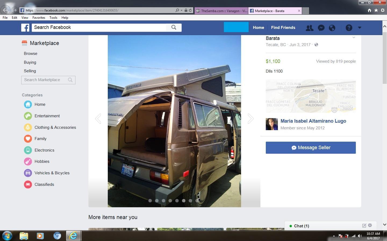 stolen vanagon found on facebook