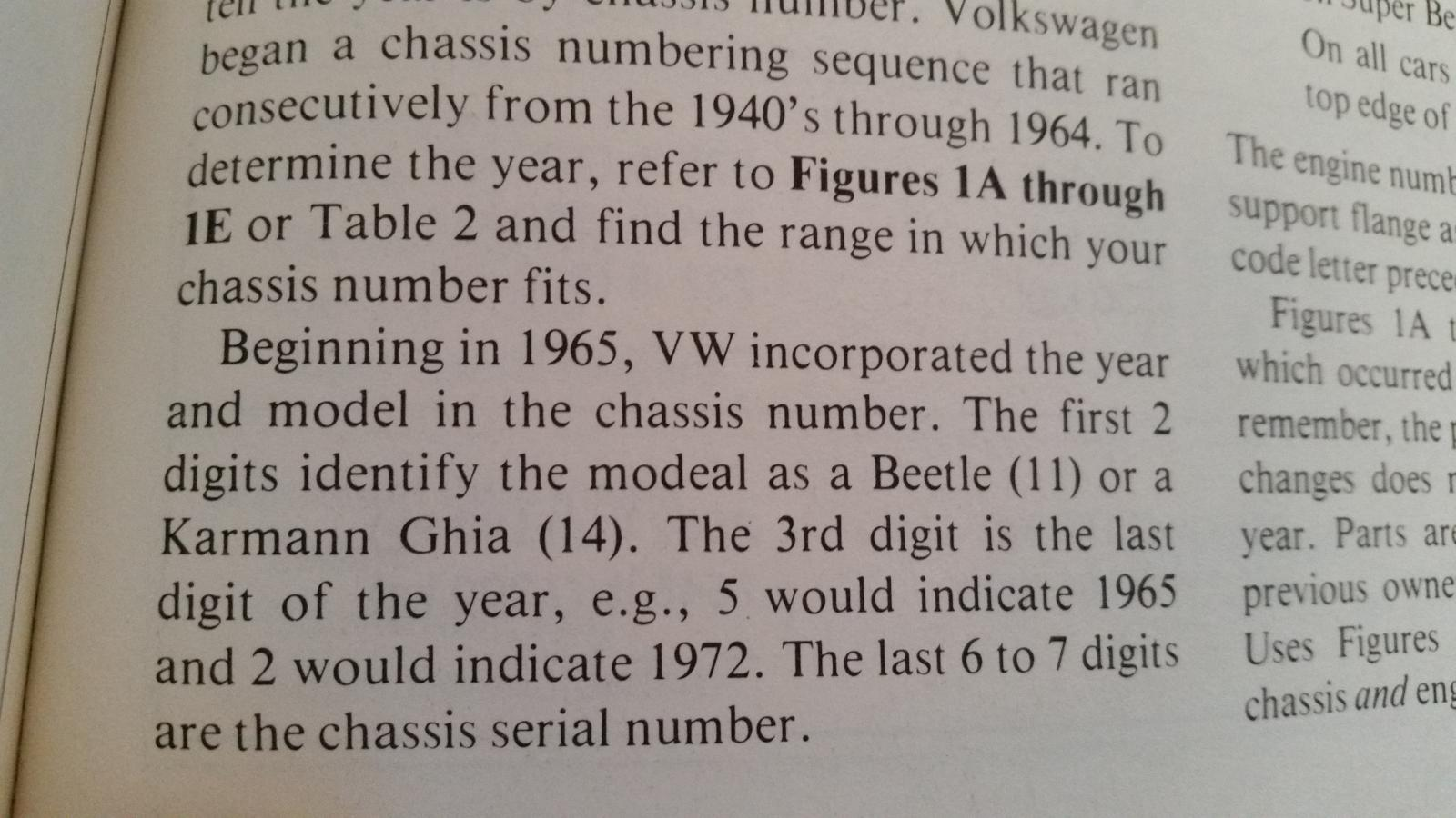 Model number being incorporated into VIN number starting 1965 quote