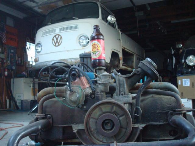 mystery engine with beer and a bay