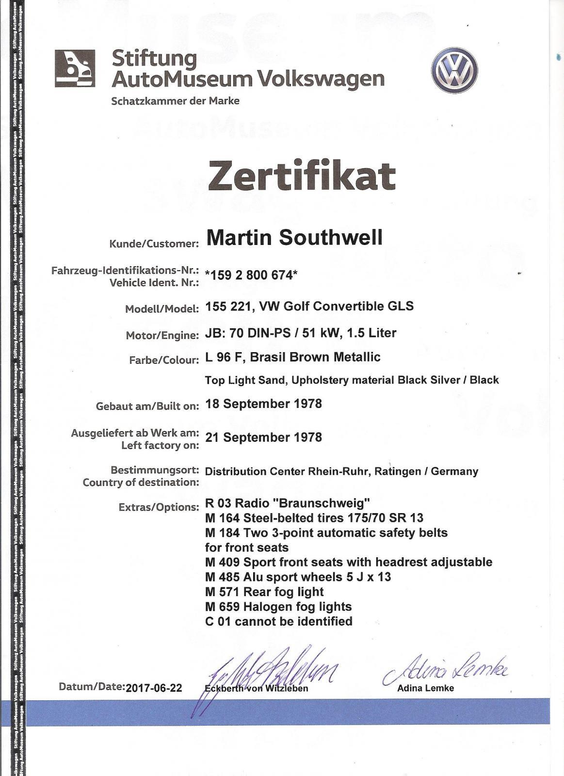 Thesamba Gallery 1978 Vw Golf Convertible Birth Certificate