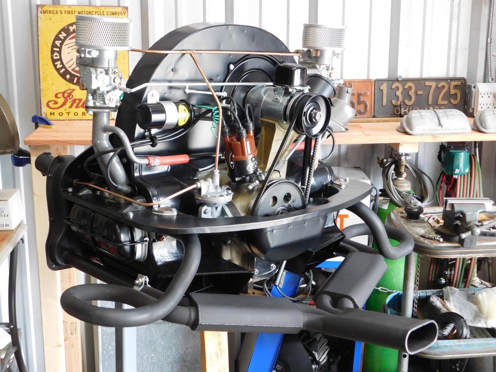 my rebuilt Okrasa engine with Ray Shubert Sebring-style header system