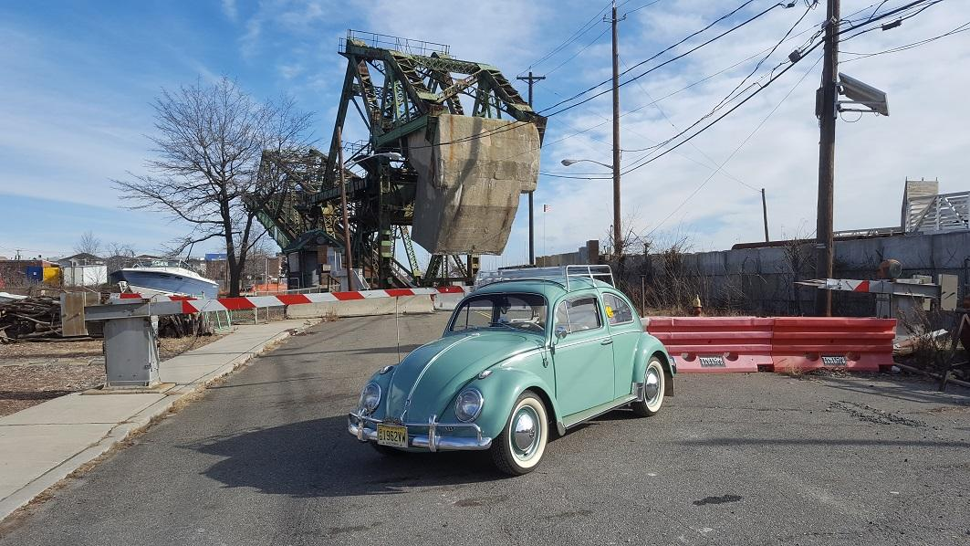 VW at the bascule bridge on South Front Street, Elizabeth, NJ