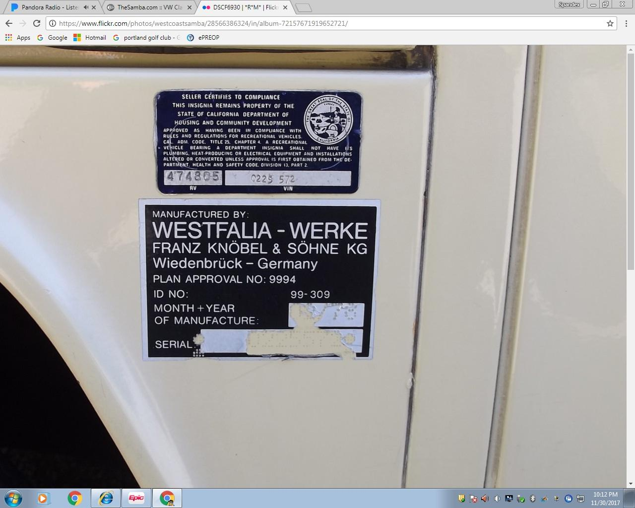 1978 Westfalia stickers