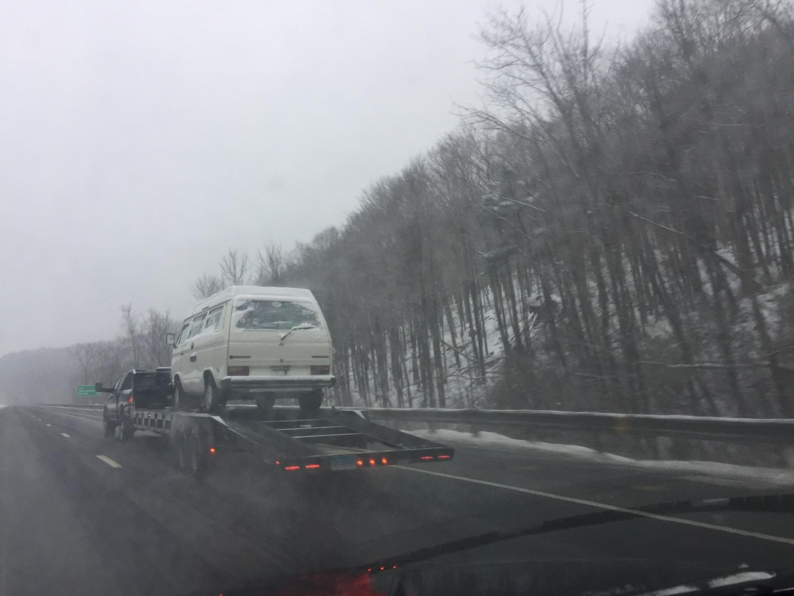 Flatbed Vanagon westy on Mass PIke DEC12