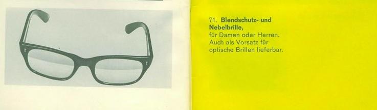 VW eyeglasses from 1970 German accessories brochure