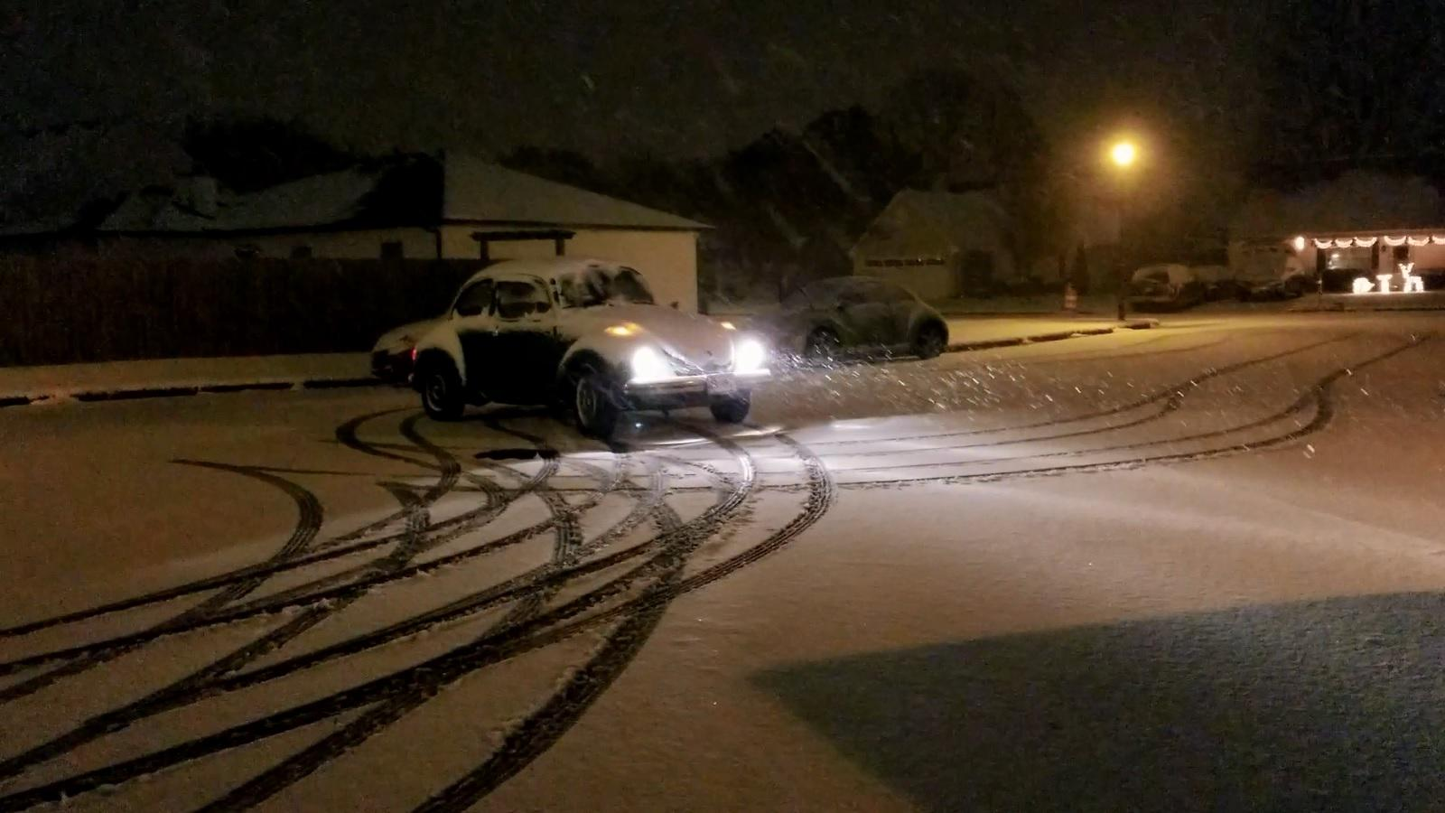 1973 Super Beetle in Snow