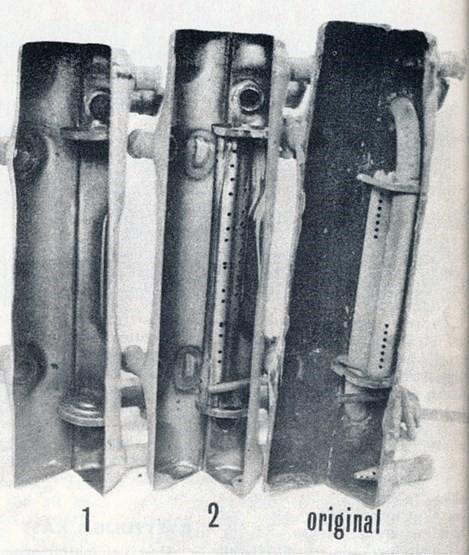 36hp exhaust muffler internals flow  NOS original aftermarket comparisation