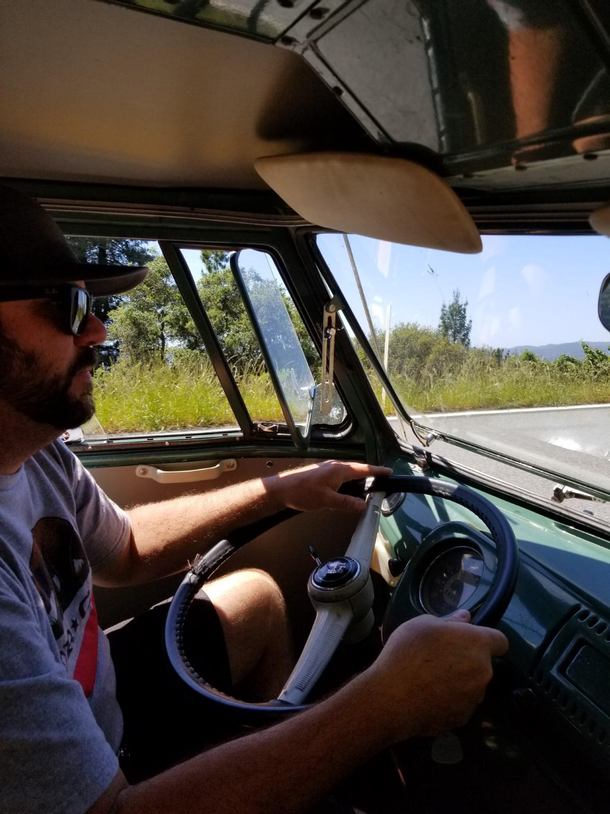 Dave cruising his Dormobile home after Red Barn 2018