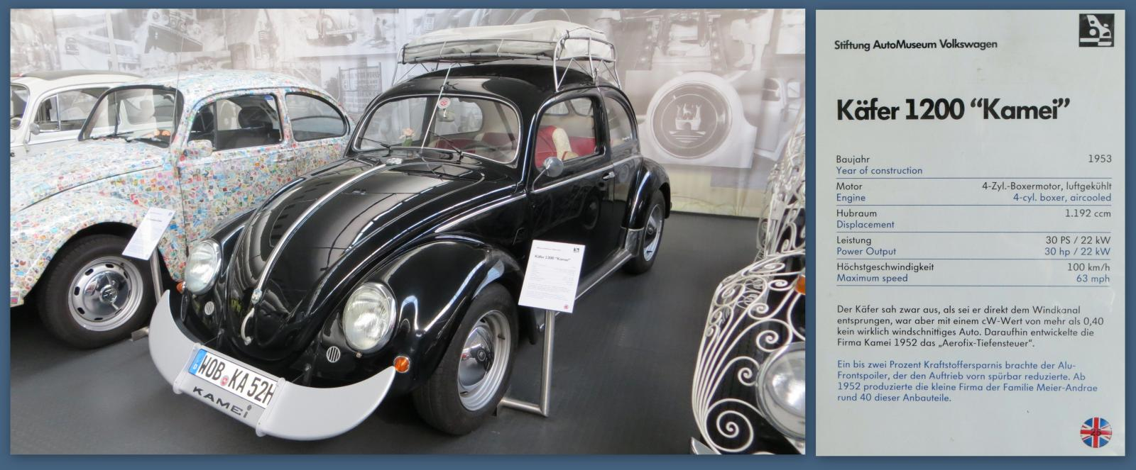 """1953 """"Kamei"""" Bug at the Stiftung AutoMuseum Volkswagen in Wolfsburg, Germany"""