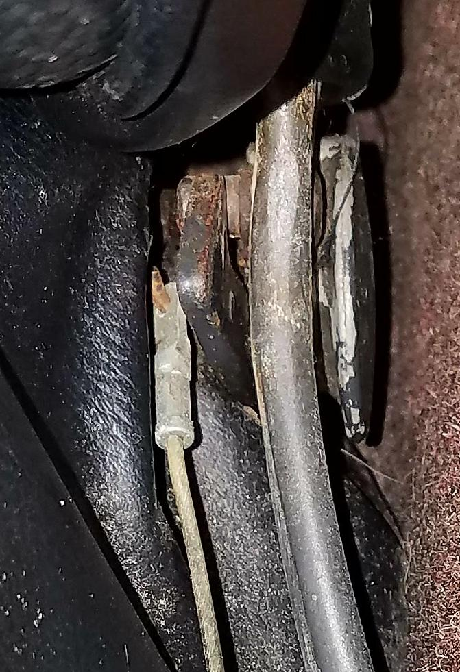 1967 Karmann Ghia Seat Back Release Cable - Latch Mounting Detail