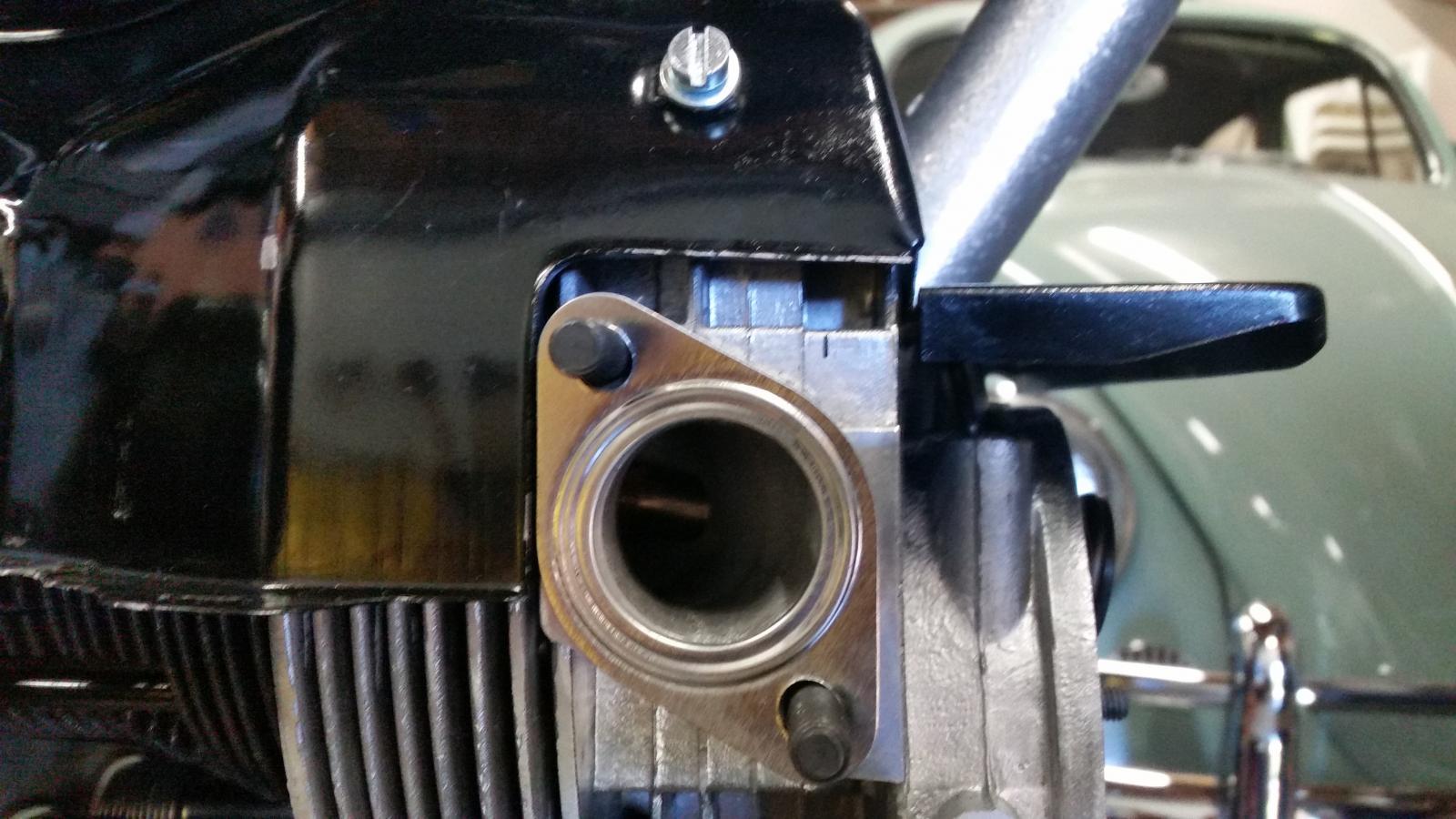 OG DP cylinder tin gap above aftermarket head exhaust port.