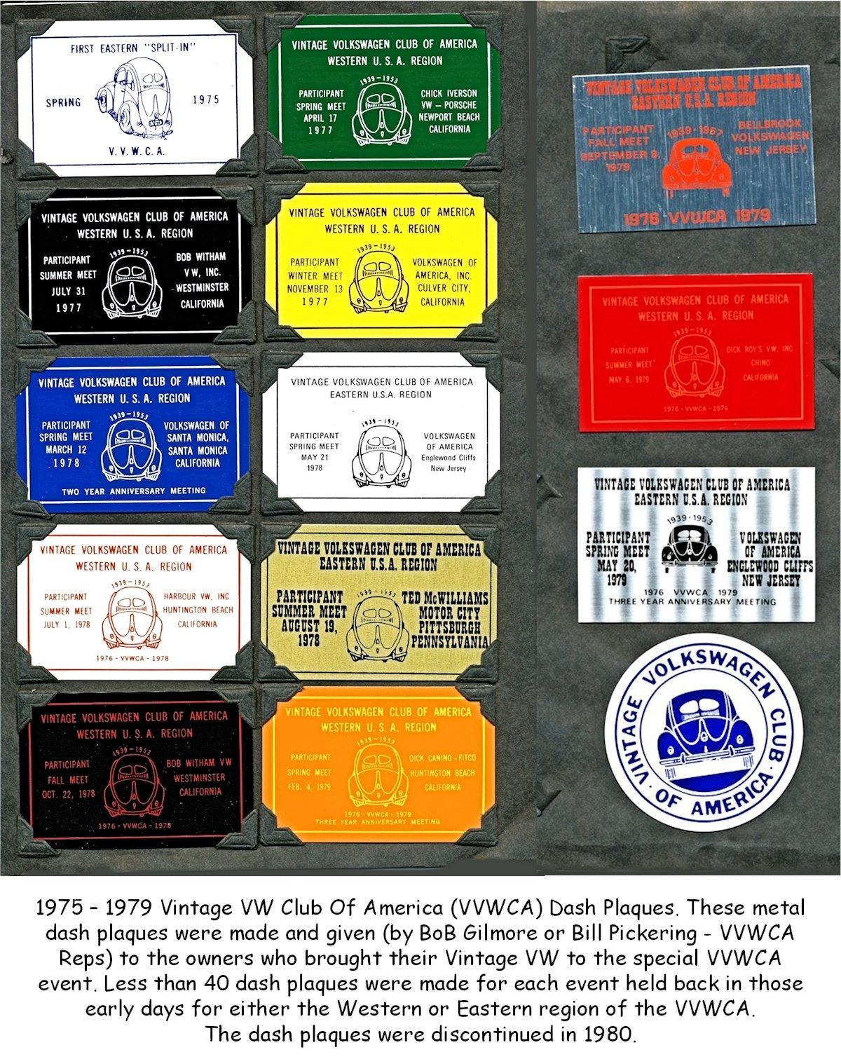 1975 – 1979 Vintage VW Club Of America (VVWCA) Dash Plaques