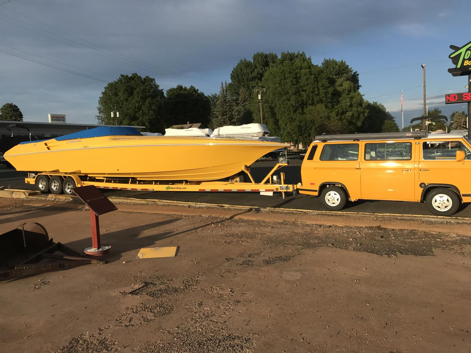 Huge yellow boat
