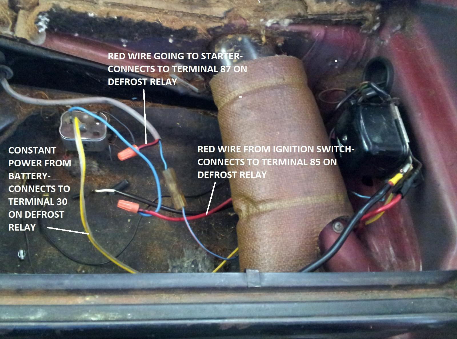 using rear defrost relay as hard start relay