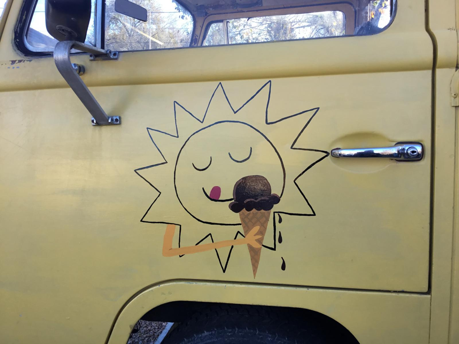 New art on old ice cream bus