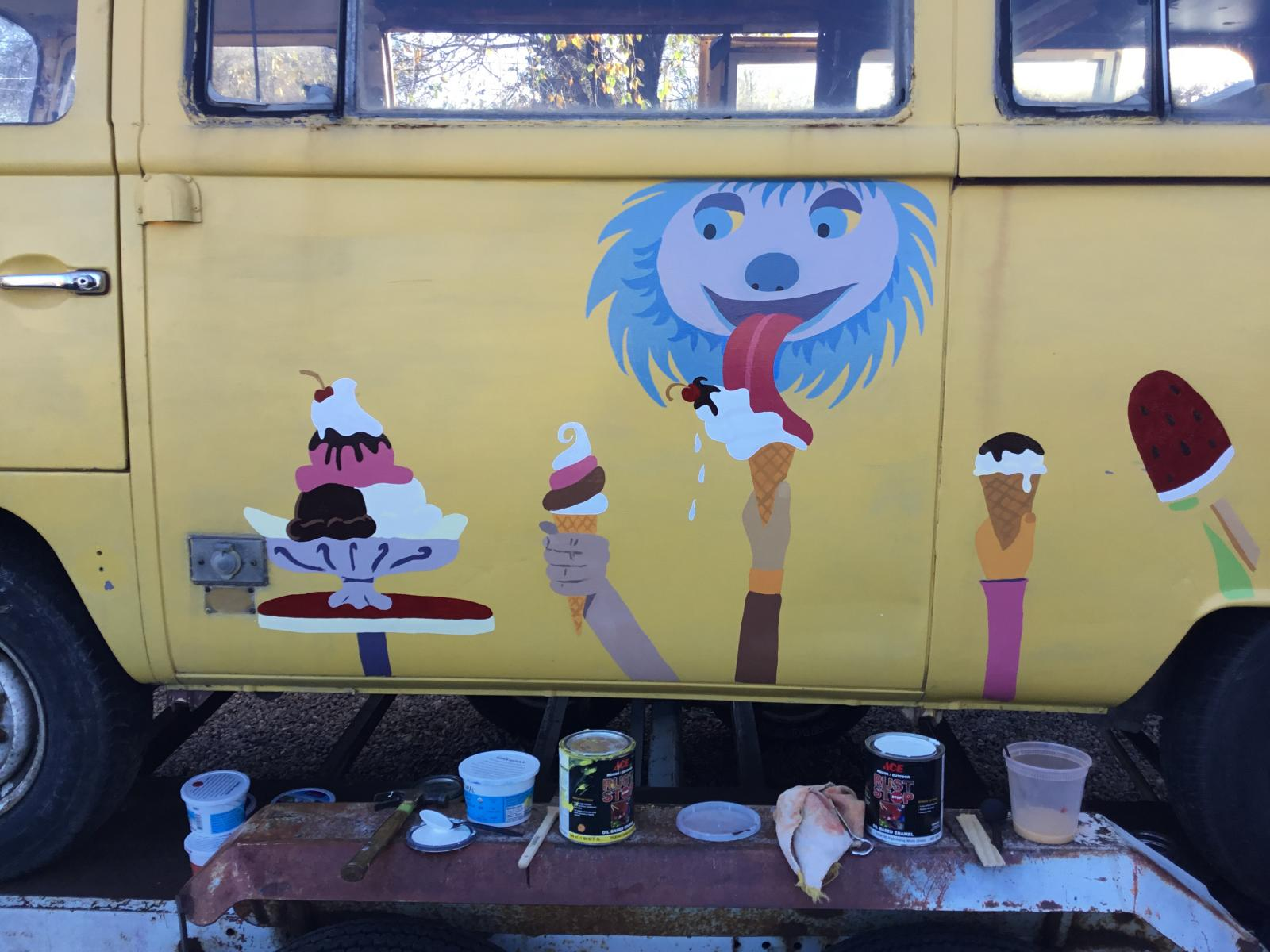 New art on old ice cream bus